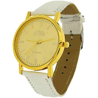 Relda Ladies Analogue Jumbo Goldtone Dial & PU White Strap With Buckle REL63