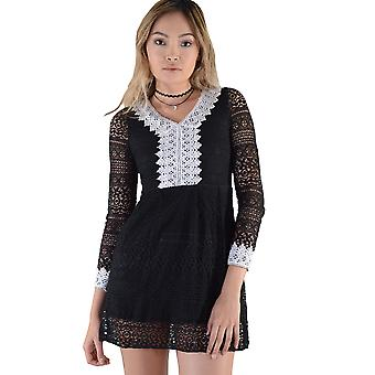 LMS Long Sleeve Crochet A-Line Dress In Black And White