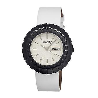Yksinkertaistaa 2100 nahka bändi naiset kello w/Date-musta/valkoinen/valkoinen