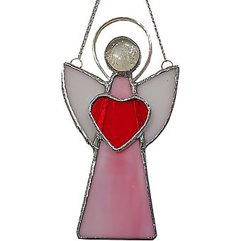 Simmerdim Design Stained Glass Angel Window Hanger Pink