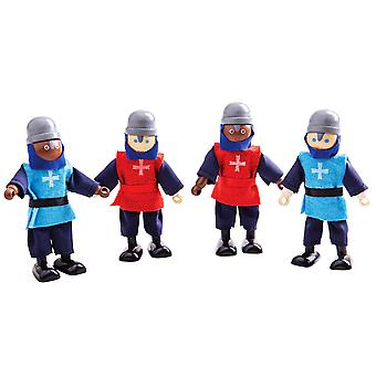 Bigjigs Toys Wooden Medieval Knights - Wooden Doll House Figures, Playset