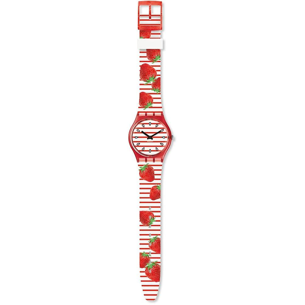 Swatch Gr177 Toile Fraisee Red & White Stripe Strawberry Silicone Watch