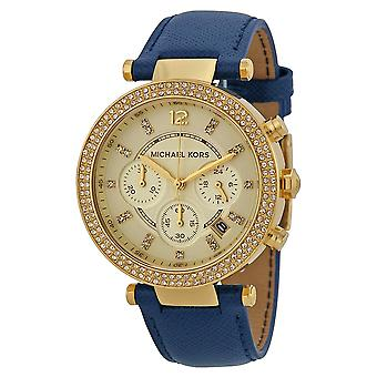 Michael Kors Mk2280 Gold Dial Leather Strap Ladies Watch