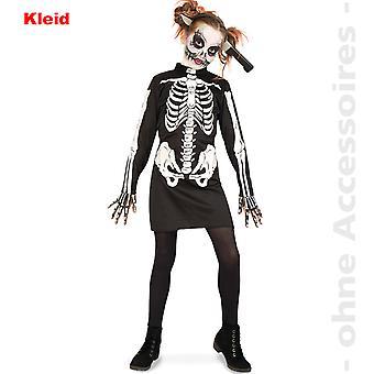 Zombie kostume, barn skelet kostume ribbede kjole af udøde Halloween barn kostume