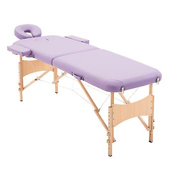 Homcom Massage Table Beauty Bed 2 Section Therapy  Lightweight Portable Folding Cream