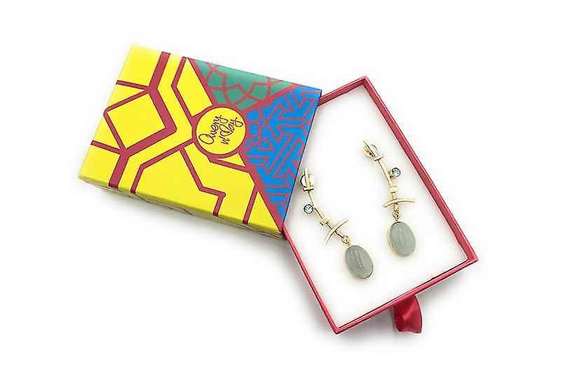 Handmade Long Just Enough Drop Gemstone Earrings, Chalcedony Gem