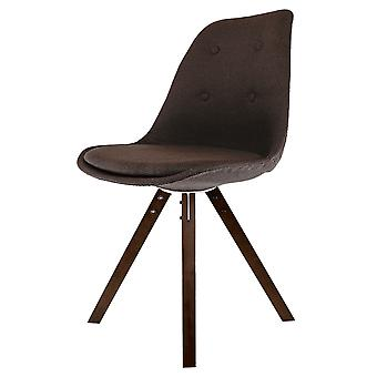 Fusion Living Eiffel Inspiré Brown Fabric Dining Chair with Square Pyramid Dark Wood Legs