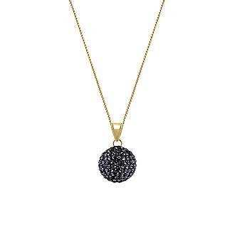 Eternal Collection Shamballa Jet Black Glitter Ball Gold Tone Pendant Necklace