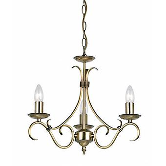 3 Light Multi Arm Ceiling Pendant Antique Brass