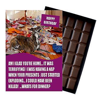 Greyhound Funny bursdag gaver for hunden lover eske Chocolate gratulasjonskort Present