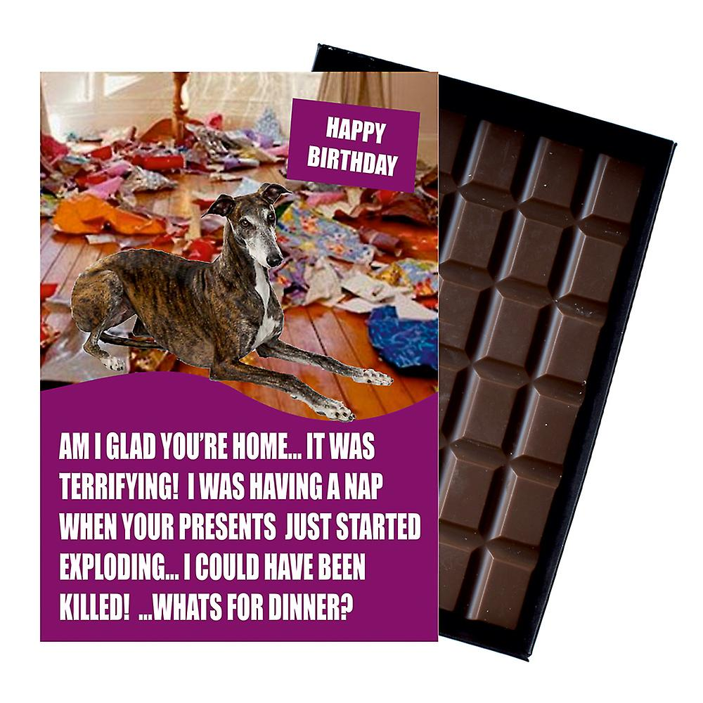 Greyhound Funny Birthday Gifts For Dog Lover Boxed Chocolate Greeting Card Present