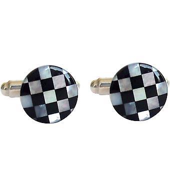 Gemshine Cufflinks 925 Silver - Mother of Pearl - Onyx - White - Black - 1.2cm