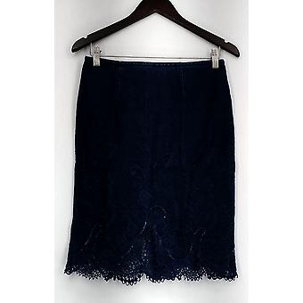 WD.NY Skirt Embroidered & Lace HemDenim Skirt Blue Womens A430449