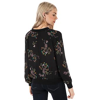 Womens Only Loreen Printed Long Sleeve Top In Black