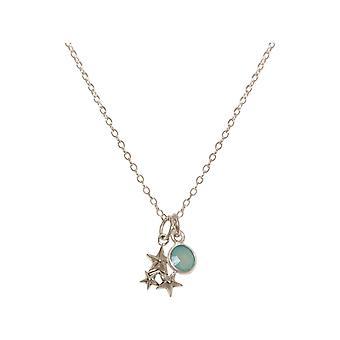 GEMSHINE ketting ster sterrenbeeld Chalcedoon-925 zilver, verguld, Rose