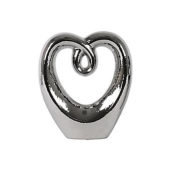 Heart shape abstract sculpture in ceramic, large, silver