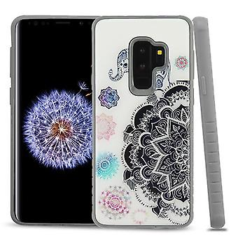 MYBAT gelukkige olifant Mandala gel/Iron Gray Fusion Protector cover voor Galaxy S9 plus