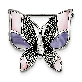 925 Sterling Silver Polished finish Marcasite Simulated Mother of Pearl Butterfly Angel Wings Pin Jewelry Gifts for Wome