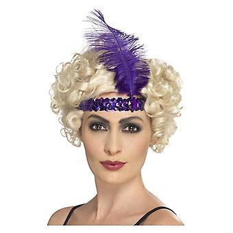 Női 1920s flapper fejpánt Purple Fancy ruha tartozék