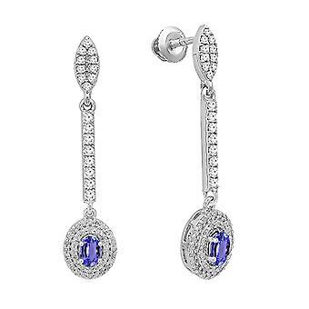 Dazzlingrock collectie 10K 5X3 MM elke ovale Tanzanite en ronde Diamond dames Halo bungelen drop oorbellen van ebben hout wit goud
