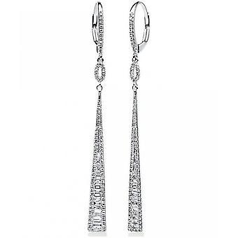 Diamond earrings earrings - 14K 585/- white gold - 0.75 ct.