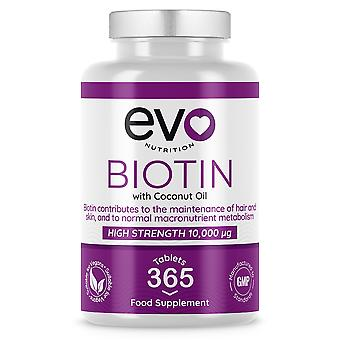 Biotin (365 Tablets) 10,000mcg for Healthy Hair, Skin and Nails - Evo Nutrition