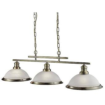 Bistro 3 Light Ceiling Bar Pendant With Acid Glass Shades
