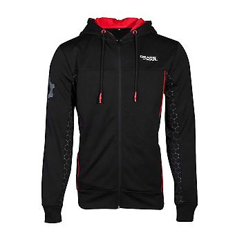 Gears Of War Hoodie Technical Logo new Official Mens Black Zipped