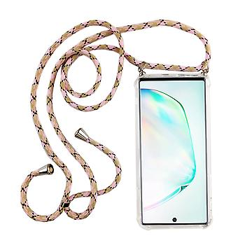Łańcuch telefoniczny dla Samsung Galaxy Note 10 Plus - Etui na naszyjnik ze smartfonem z paskiem - Przewód z etui do zawieszenia na różowo