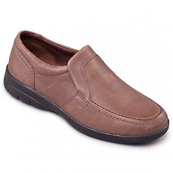 Padders Leo Mens Leather Wide (g/h) Loafers Taupe
