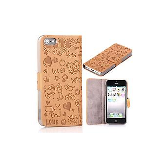 Beige Cover Top Horizontal Magnetized Cartoon Pattern For IPhone 5