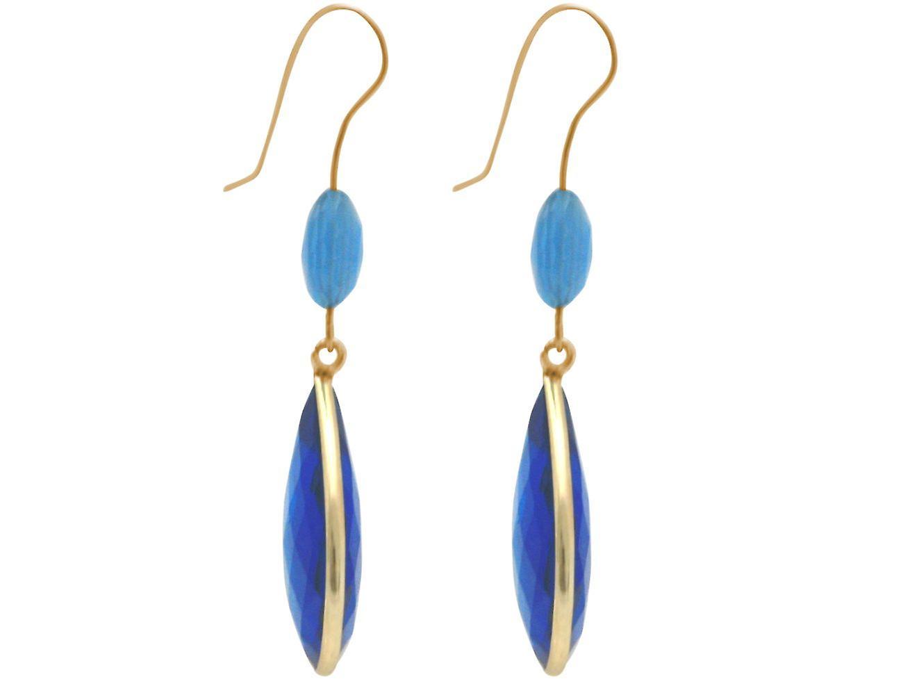 Gemshine Ohrringe blaue Chalcedonen und Blautopas Tropfen 925 Silber vergoldet