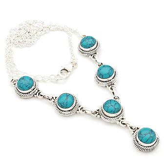 Turquoise Necklace 925 Silver Sterling Silver Necklace Necklace Blue Green (MCO 03-15)