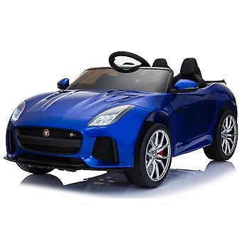 Kids electric car Jaguar F-type SVR, EVA tires, metallic, leather seat horn, music