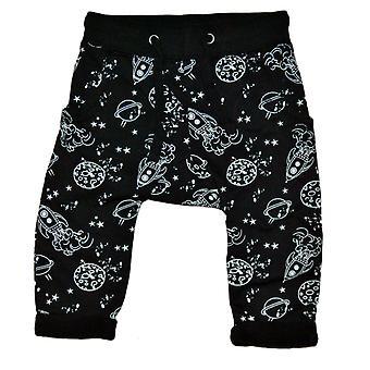 Baby pants black with space motif