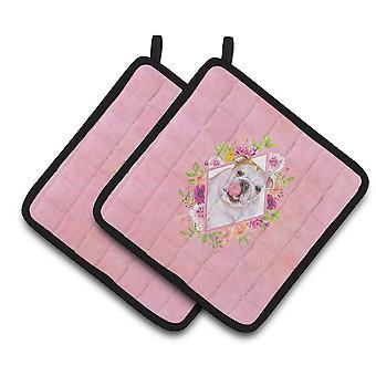 Caroliness Treasures CK4140PTHD engelska Bulldog Pink Flowers par pott innehavare