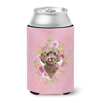Chocolate Cockapoo Pink Flowers Can or Bottle Hugger