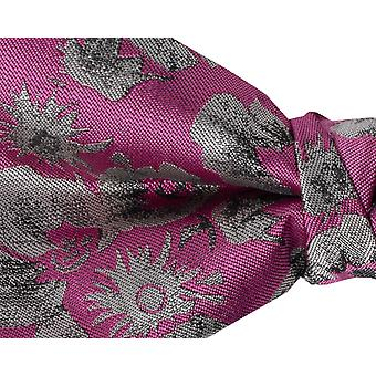 Dobell Mens Fuchsia Graphic Floral Print Bow Tie Pre-Tied