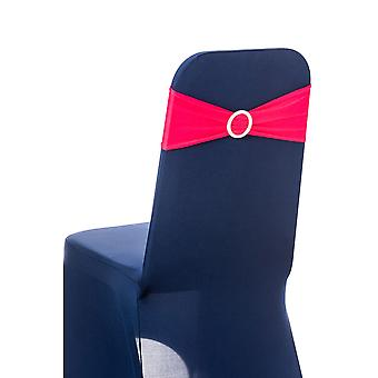 Stretchable Spandex Chair Sashes With Round Diamante Buckles,Fuchsia