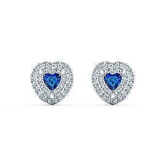 Ohrringe D-Apos;OREILLES Swarovski 5511685 - Ohrringe M tal Coeur Herz und Kristall blau Frauen