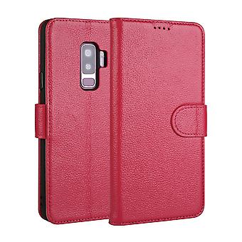 Pour Samsung Galaxy S9MD PLUS Case,Fashion Wallet Cow Genuine Leather Cover,Rose