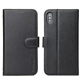 For iPhone XS Max Case iCoverLover Black GenuineLeather Wallet Folio Case