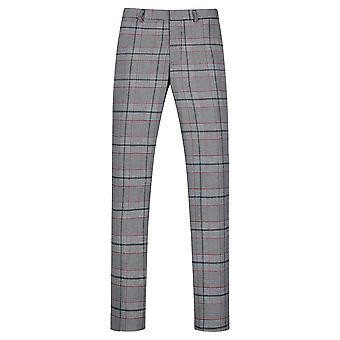 Allthemen Men's Straight Fit Suit Pants Plaid Printed Casual Trousers