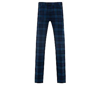 Avail London Mens Blue Suit Trousers Skinny Fit Tartan Check