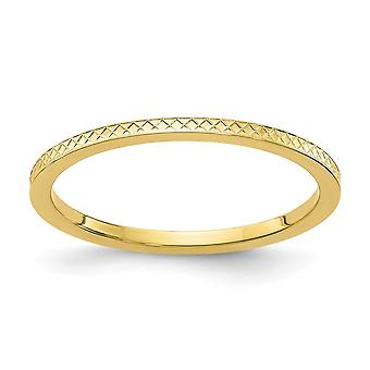 10ky 1.2mm Criss cross Pattern Stackable Band Ring Jewelry Gifts for Women - Ring Size: 4 to 10