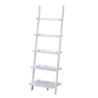 Charles Bentley Alto Legno 5 Rung Ladder Storage Scaffale Unità Display Bianco 180x40x60cm