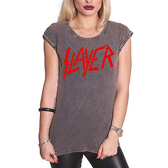 Slayer T Shirt Classic Band Logo Official Womens New Acid Wash Skinny Fit