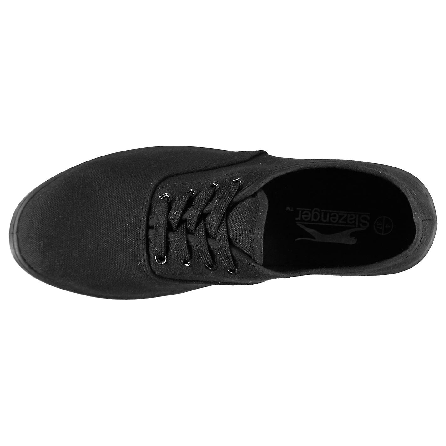 Slazenger Womens Ladies Canvas Pumps Lace Up Low Profile
