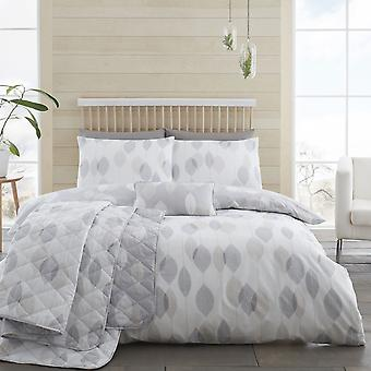 Etched Leaves Grey Duvet Set, Double
