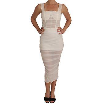 Dolce & Gabbana Alb Stretch Bodycon teaca rochie